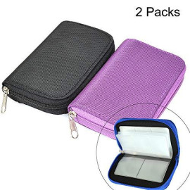 Memory Card Cases, 2 Packs Bestshoot Memory Card Holder Bags Pouch Organizer Keeper 22 Slot SD Micro SD CF SDHC SDXC MMC Secure Digital Compact Flash Cards Wall Bags for Media Storage (black + purple)