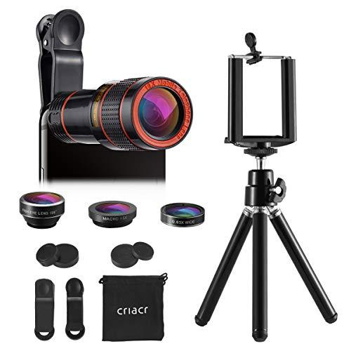 (Upgraded) Phone Camera Lens, 12X Zoom Lens, Fisheye Lens, Macro Lens And Wide Angle (Attached Together), Telephoto Lens, Phone Holder, Tripod, 3 In 1 Smartphone Cell Phone Lens Kit