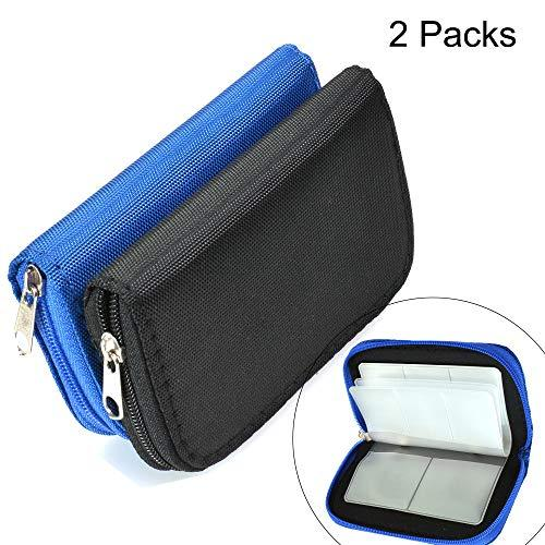 Memory Card Cases, 2 Packs Bestshoot Memory Card Holder Bags Pouch Organizer Keeper 22 Slot SD Micro SD CF SDHC SDXC MMC Secure Digital Compact Flash Cards Wall Bags for Media Storage (Black + Blue)