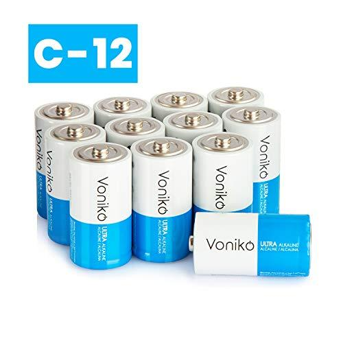 VONIKO Ultra Alkaline 12 C Batteries 12 Pack - Size C Batteries Pack - 10 Year Shelf Life ; 6-9 Times The Power As Carbon Batteries | 12 Pack C Batteries 1.5 Volt - C Batteries