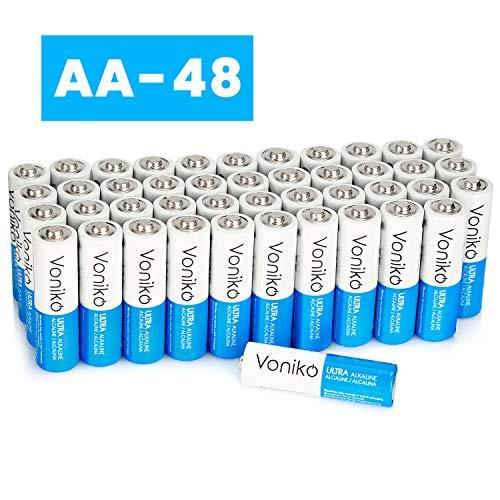 VONIKO Ultra AA Alkaline Batteries 48 Pack- AA Batteries - 10 Year Shelf Life ; 6-9 Times The Power As Carbon Batteries |AA Battery - Double A Batteries