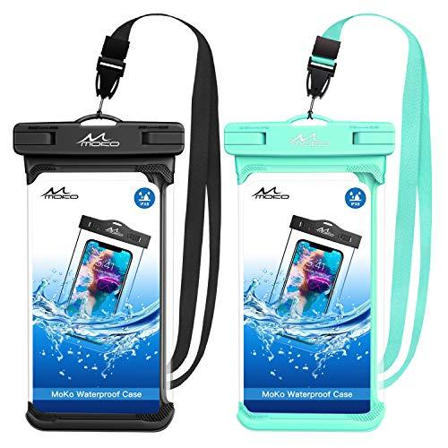 MoKo Waterproof Phone Pouch [2 Pack], Underwater Phone Case Dry Bag with Lanyard Compatible with iPhone 11/11 Pro/11 Pro Max, X/Xs/Xr/Xs Max, 8/7 Plus, Samsung S10/S9/S8 Plus, S10e, A10E, Note 10/9/8