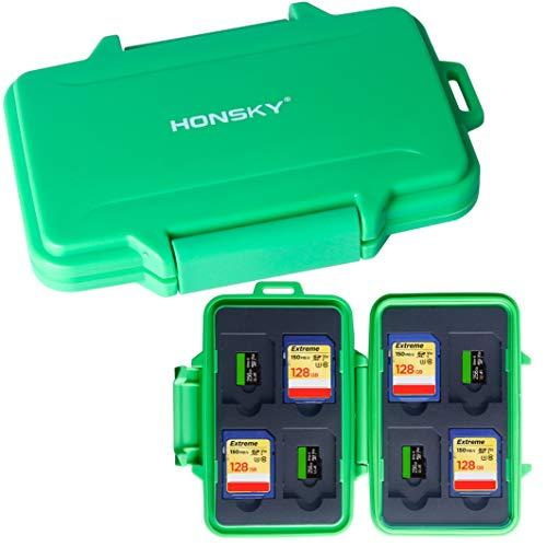 SD Card Holder, Honsky Waterproof Memory Card Holder Case for SD Cards, Micro SD Cards, SDHC SDXC, Green