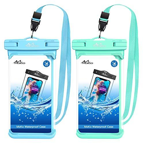 MoKo Waterproof Phone Pouch, [2 Pack] Underwater CellPhone Case Dry Bag with Lanyard Compatible with iPhone 11/11 Pro/11 Pro Max/X/Xs/Xr//Xs Max, 8/7, Samsung Galaxy S10, S10e, S10/S9/S8 Plus Note 9/8