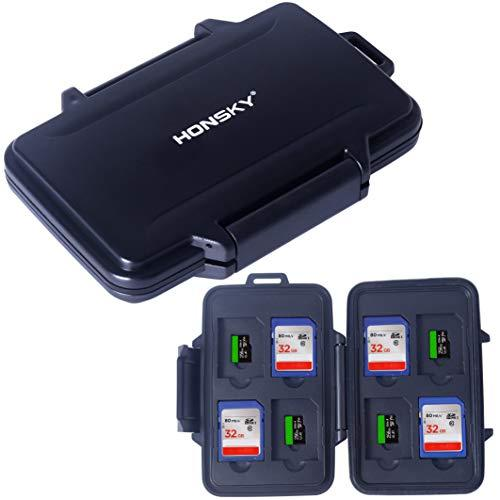 SD Card Holder, Honsky Waterproof Memory Card Holder Case for SD Cards, Micro SD Cards, SDHC SDXC,Black