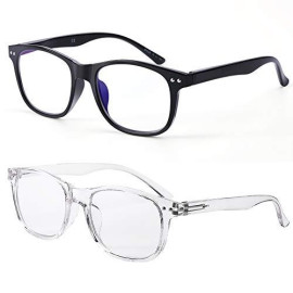 Blue Light Blocking Glasses Women ; Men Computer Reading Gaming Glasses 2 Pack Anti Blue Ray and Anti Eyestrain UV Filter Fashion Glasses Classic Black and White by FONHCOO