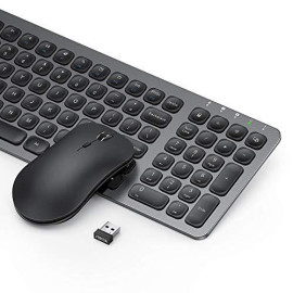 Rechargeable Wireless Keyboard Mouse Sets - 2.4G Ultra Slim Keyboard and Mouse Combo with Built-in Lithium Battery Metal Keyboard with Number Pad for Windows Devices - Black ; Grey