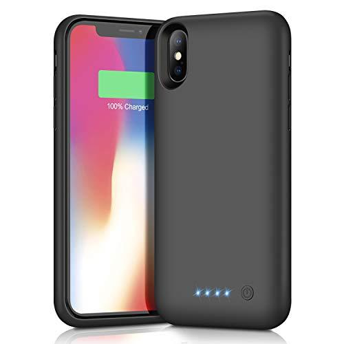 Lanluk Battery Case For Iphone X/Xs/10, 6500Mah Portable Protective Charging Case Extended Rechargeable Battery Pack Charger Case Compatible With Iphone X/Xs/10 (5.8 Inch) (Black)