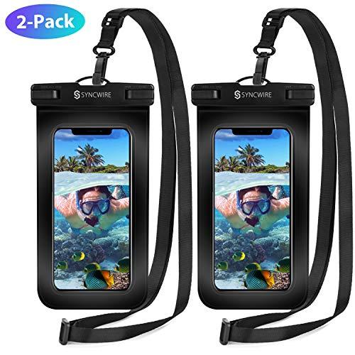 Syncwire Waterproof Phone Pouch [2-Pack] - Universal IPX8 Cell Phone Waterproof Case Dry Bag Protector with Lanyard for Taking Pictures Compatible with iPhone, Samsung and More Up to 7 Inches