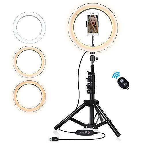 10-Inch Selfie Ring Light With Tripod Stand & Cell Phone Holder, Dimmable Camera Light For Makeup Video Vlog,3 Colors Optional - Warm,White,Yellow