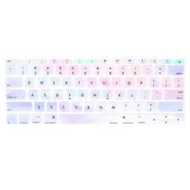 MOSISO Silicone Keyboard Cover Protective Skin Compatible with MacBook Pro 13 inch 2017 ; 2016 Release A1708 Without Touch Bar, MacBook 12 inch A1534, Colorful Clouds