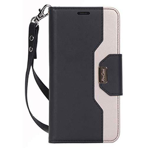 """Procase iPhone 11 Wallet Case for Women, Flip Folio Kickstand PU Leather Case with Card Holder Wristlet Hand Strap, Stand Protective Cover for iPhone 11 6.1"""" 2019 Release -Black"""