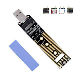 NVMe to USB Adapter, M.2 SSD to USB 3.1 Type A Card, M.2 PCIe Based M Key Hard Drive Converter Reader as Portable SSD 10 Gbps USB 3.1 Gen 2 Bridge Chip Support Windows XP 7 8 10, MAC OS