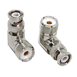 Right Angle BNC to SO-239 Adapter, 2-Pack RFAdpter UHF Female to BNC Male Coax Connector Convertor for Ham Radio, Antenna, Scanner, Coaxial Cable