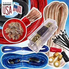 Audio360 USA 0 Gauge Cable 5000W Complete Car Amplifier Installation Power Amp Wiring Kit 1/0 Ga Red for Car Stereo