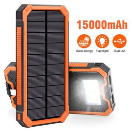 Solar Charger 15000Mah, Elzle Portable Solar Power Bank Dual Usb Backup Battery Pack Charger, Outdoor Solar Phone External Battery With 6 Led Flashlight For Iphone Series, Smartphone, More (Orange)