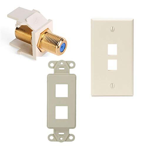 Leviton Quickport F-Type Adapter With 2-Port Quickport Wall Plate And 2-Port Quickport Decora Insert, Light Almond