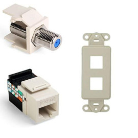 Leviton Quickport F-Type Adapter With Gigamax 5E Quickport Connector And Quickport Decora Insert, 2-Port, Light Almond