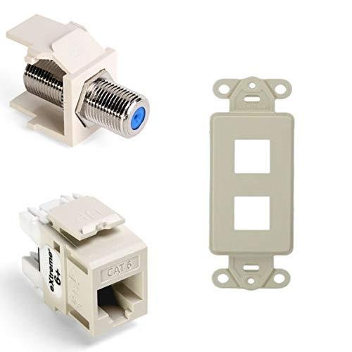 Leviton Quickport F-Type Adapter With Quickport Connector - Modular Insert And Quickport Decora Insert, 2-Port, Light Almond