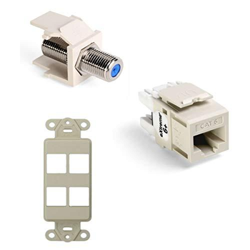 Leviton Quickport F-Type Adapter With Quickport Connector - Modular Insert And Quickport Decora Insert, 4-Port, Light Almond