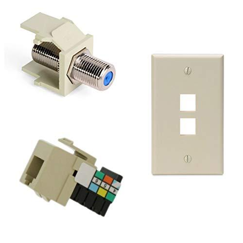 Leviton Voice Grade Quickport Connector With Quickport F-Type Adapter And 2-Port Quickport Wall Plate, Light