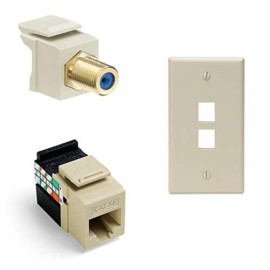 Leviton Gigamax 5E Quickport Connector With Quickport F-Type Adapter And 2-Port Quickport Wall Plate, Light