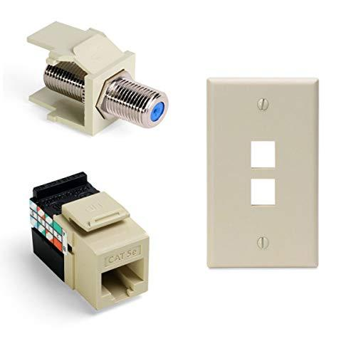 Leviton Gigamax 5E Quickport Connector With Quickport F-Type Adapter Nickel-Plated And 2-Port Quickport Wall Plate, Light