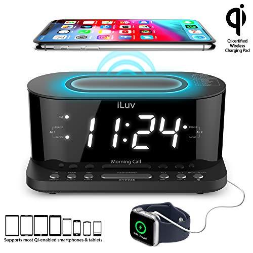 Dual Alarm Clock Radio With Qi Black