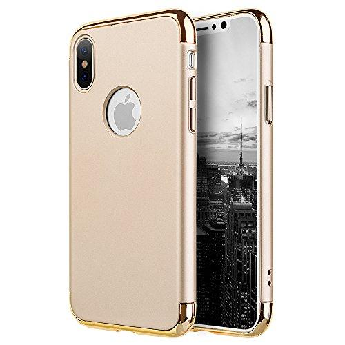 For Iphone X Griptech 3-Piece Rubberized Protective Case With Silver Chrome Frame - Gold