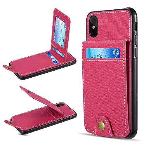 The Saffiano Denim Scratchproof Wallet Card Case For Iphone  Xs Max - Hot Pink