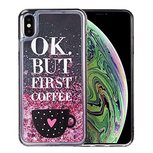 The Waterfall Liquid Sparkling Quicksand Tpu Case For Iphone Xs Max - Coffee First