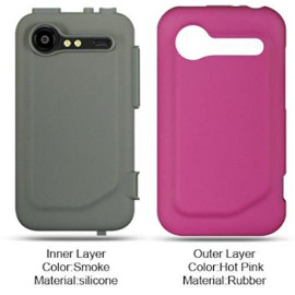 High-End Htc Incredible 2 / 6350 Dark Gray Skin + Hot Pink Rubber 2 In 1 Case
