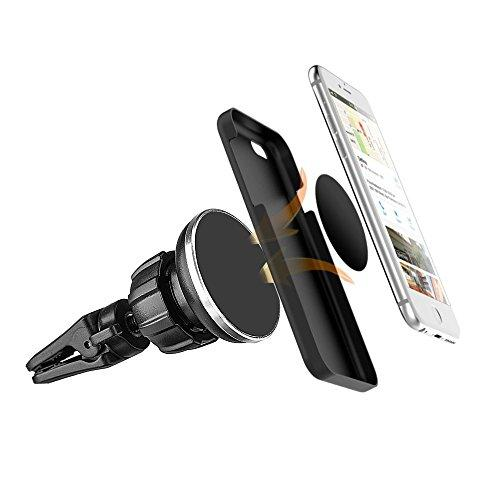 Universal Air Vent Magnetic Car Mount Holder With Secure Twist Lock & Rotatable Joint For Cell Phones And Mini Tablet