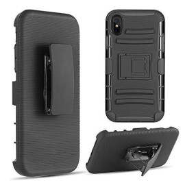 Hybrid Holster Combo Case Black Skin + Black Pc With H-Style  Stand For Iphone Xs Max - Black