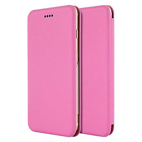 For Iphone 6 / 6S Plus Splendid Series Leather Hard Cover Flip Wallet Case With Card Holders - Hot Pink