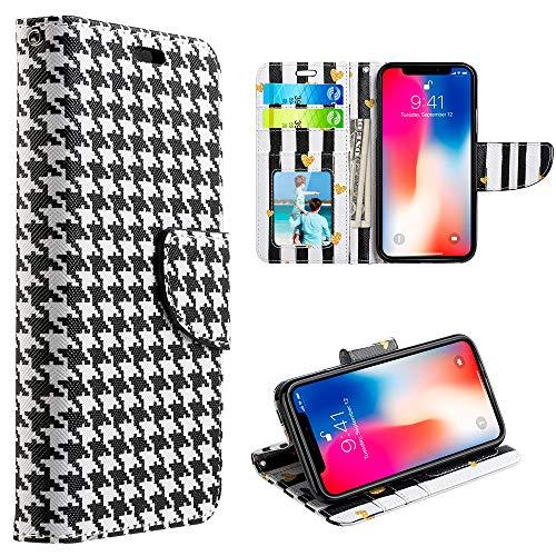 The Trndy Leather Flip Wallet Case For Iphone Xs Max -       Hounds Tooth