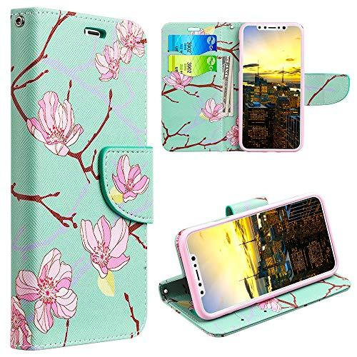 The Trndy Leather Flip Wallet Case For Iphone Xs Max -       Japanese Blossom
