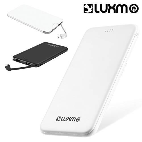 Universal Ultra Slim Charge 5000Mah External Power Bank W/ 2A Output And Built-In Type-C Cable - White