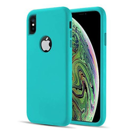 The Dual Max Series 2 Tone Tpu Pc Cover Hybrid Protection    Case For Iphohe Xs / X - Teal / Teal