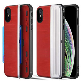 The Kard Dual Hybrid Case With Card Slot And Magnetic        Closure For Iphone Xs / X - Red & Silver