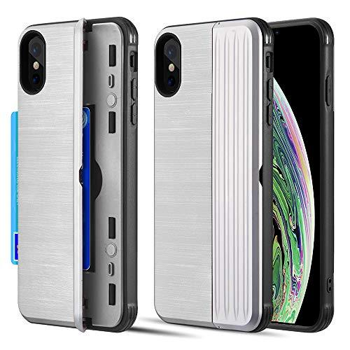 The Kard Dual Hybrid Case With Card Slot And Magnetic        Closure For Iphone Xs Max - Silver
