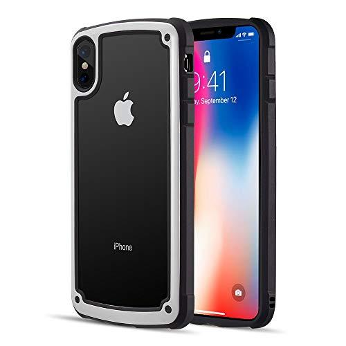 Zerodamge Dual Protective Hybrid Case With 2 Tone Frame And   Tempered Glass Back Plate For Iphone Xs Max - White