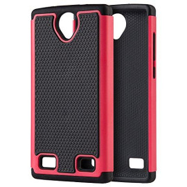 Zte Z Max 2 Grippy Hybrid Case Black Tpu + Hot Pink Pc