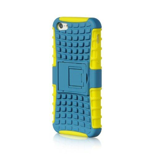 Apple Iphone 5 / 5S / Se Grenade Hybrids Green Tpu+ Blue Crystal Rubber Case W/ Standed-Tcrip5Stdgrdylbl
