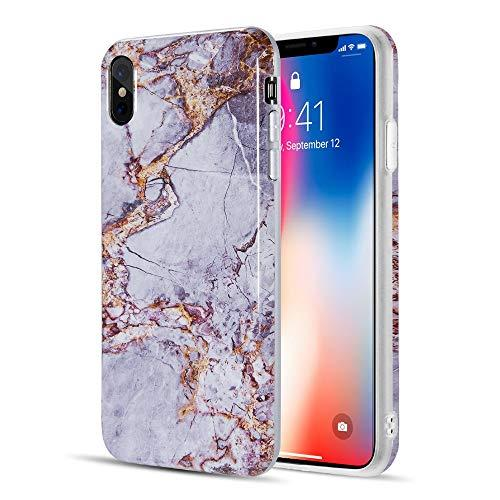 The Marble Series Imd Soft Tpu Case For Iphone Xs Max -      Grey / Gold