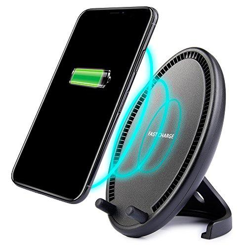 Universal Qi Wireless Charging Egg Stand Desktop Charger W/ Dual Coil Fast Charge For Samsung S8 S8 Plus Note 8 - Black