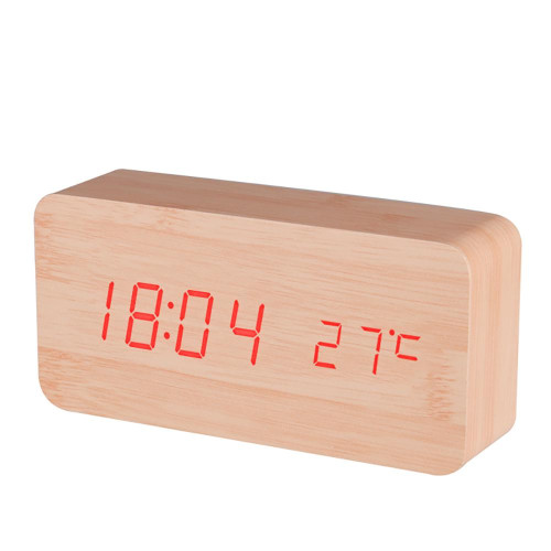 Baldr Digital Wooden Alarm Clock, Black