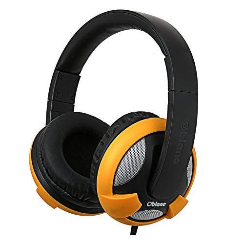 Ufo200 Nc2 2.0 Stereo Headphone With In-Line Microphone, Gold Plated 3.5Mm Jack Connector, Compatible With Smartphones And Tablet, Black / Yellow Color