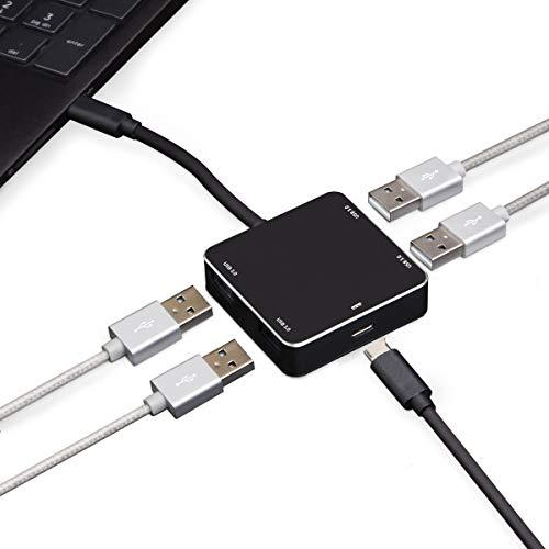 Type-C To Usb 3.1 Type-A Gen1 4-Port Hub And Pd Charge Port, Unique Design Of Pd Voltage Indicator: 5V / 9V / 12V / 15V / 20, Fully Plug & Play, Hot Swap Compatible, Seamless Gold-Plated Type C Plug, Aluminum Housing, Silver Color, Genesys Logic Gl3520??