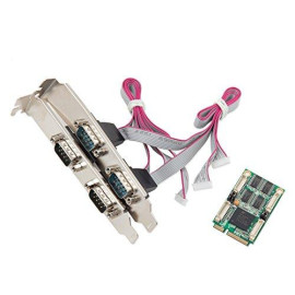 Mini Pci-Express 2.0 4-Port Rs-232 Db9 Serial Interface, 15 Kv Esd Protection, Sleep Mode With Wake-Up Indicator, Exar354 Chipset